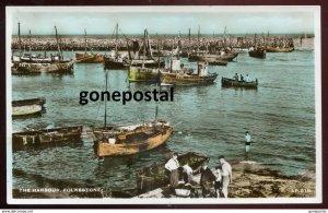 dc592 - ENGLAND Folkestone 1940s Harbor Fishing Boats. Handcolored Real Photo Po