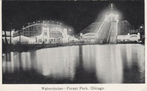 CHICAGO, Illinois, 1900-10s ; Forest Park , Waterchutes at night