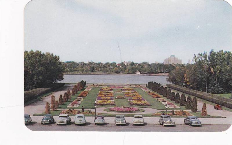 Beautiful Flower Gardens in front of the Parliament Buildings, Regina, Saskat...