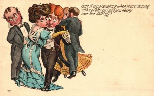 Vintage Postcard 1911 Dancing With A Pretty Girl Tear Her Skirt Off Comic Funny