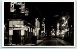 RPPC  HAMBURG-ALTONA, Germany ~ Große Freiheit STREET SCENE Night  Postcard