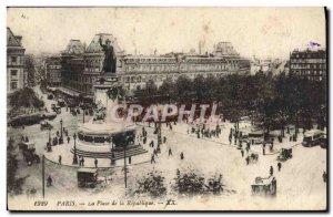 Old Postcard Paris Place de la Republique
