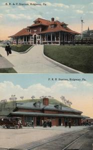 RIDGWAY , Pennsylvania, 1900-10s; Two Railroad Stations