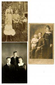 3 RPPC's - Family Photos