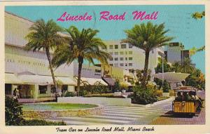 Florida Miami Beach Tram Cars Make Scheduled Trips Up And Down The New Lincol...