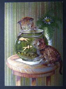 Pussy Cat KITTENS AND THE GOLDFISH c1980's by F J Warren DUFEX FOIL Postcard