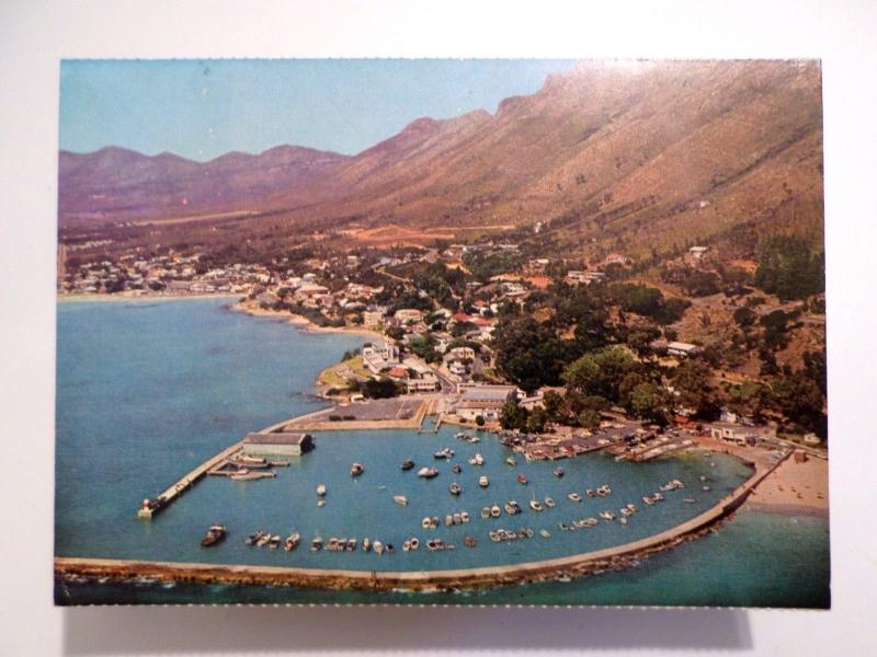 POSTCARD SOUTH AFRICA CAPE TOWN AERIAL VIEW OF GORDON´S BAY & HARBOUR 1960s z1