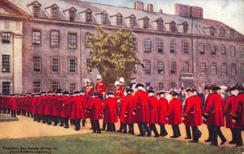 Tucks Vintage Postcard Royal Hospital Chelsea Founders Day Parade Earl Roberts