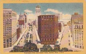 Michigan Detroit Washington Boulevard And Statler Hotel 1952