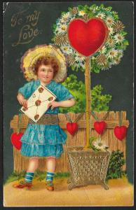 To My Love Girl in Blue Dress Heart 'Tree' & Fence Used c1911