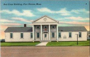 Red Cross Building Fort Devans Massachusetts Vintage Postcard Standard View Card
