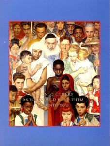 Norman Rockwell (Repro) -  Golden Rule  (Size: 6.625 X 4.625)