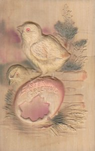 Embossed, EASTER; Greeting, Chicks and egg shell, 00-10s