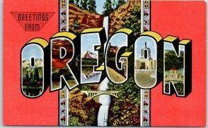 OREGON Large Letter Postcard w/ Multnomah Falls View KROPP Linen c1940s Unused