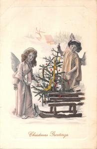 YOUNG ANGELS & TREE IN HOMEMADE SLED~CHRISTMAS GREETINGS POSTCARD 1912 PSTMK