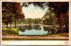 Pond View, Deering Park Portland ME Vintage PreLinen Undivided Back Postcard G22