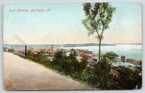 Burlington Vermont~Boat Landing~Smoke Stacks Along Shore~c1910 Postcard