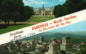 Asheville, NC, Biltmore House, View from Beaucatcher Mt., 1966 Postcard g8940