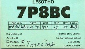 LESOTHO South Africa Postcard QSL Radio Jerry Selenke - Leribe Technical School