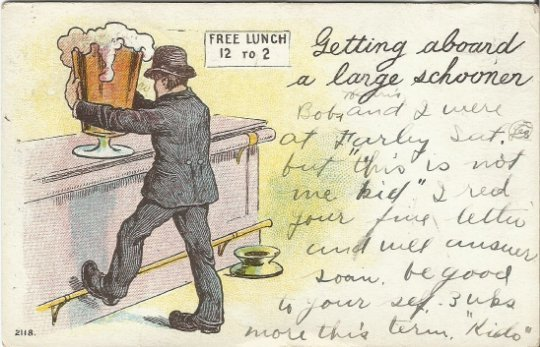 Drinking Card Man at bar with Giant Beer Old Fashioned Tavern Vintage Postcard