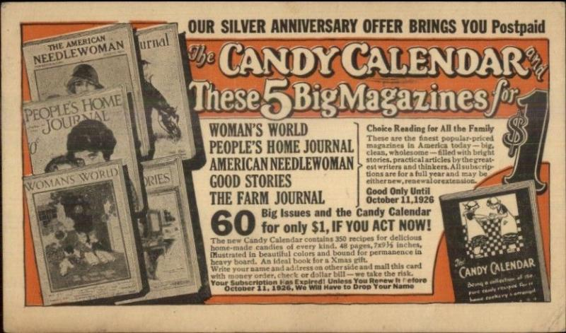 Women's Magazine Subscription Promo Candy Calendar Postal Card