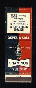 Champion Spark Plugs Match Cover, Norwood Motor Parts, Norwood, Mass/MA, 1950...
