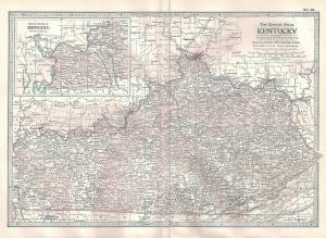 VINTAGE MAP Kentucky c1897 from Century Atlas