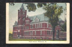 ELMWOOD ILLINOIS HIGH SCHOOL BUILDING VINTAGE POSTCARD
