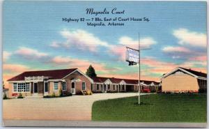 Magnolia Arkansas Postcard MAGNOLIA COURT Highway 82 Roadside Linen 1950s Unused