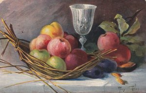 AS: MARY GOLAY, PU-1907; Still Life, Basket of fruit and a goblet
