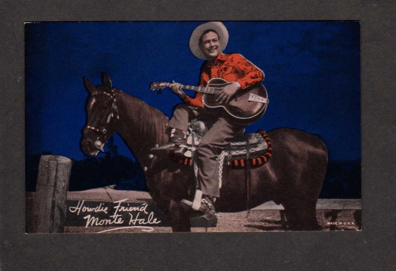 Penny Arcade Card (not a postcard) Monte Hale Cowboy Movie Star Horses Guitar