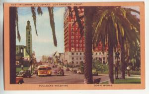 P1012 street scene cars buses wilshire blvd town house los angeles calif
