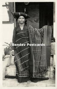indonesia, SUMATRA, Native Batak Woman showing Batik (1930s) RPPC Postcard