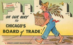 1940s Chicago Illinois Board of Trade Civic Booster Attraction Comic Postcard