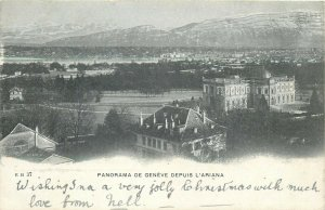 panorama de geneve depuis l`ariana suisse cpa
