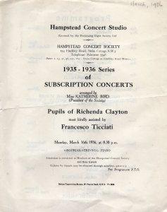 Francesco Ticciati Hampstead 1930s Programme Theatre Ephemera