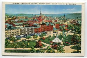 Panorama Saint St John New Brunswick Canada 1940s postcard