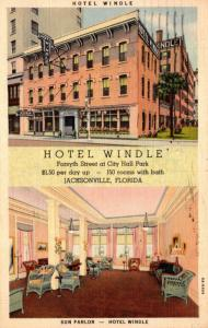 Florida Jacksonville Hotel Windle Showing Sun Parlor 1937 Curteich