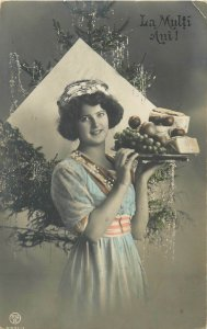 Romania winter seasonal greetings New Year Christmas tree lovely lady fruits