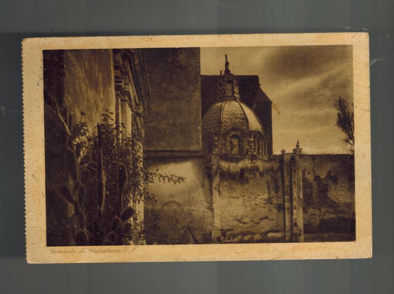 1928 Mexico DF RPPC Real Picture Postcard to Brazil Convent of CHurubusco