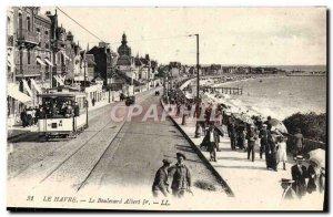 Old Postcard Le Havre Tramway Boulevard Albert 1er
