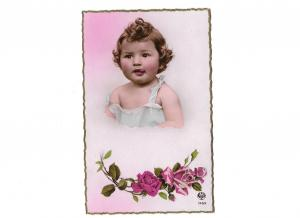 Adorable Baby Girl Sticking Out Her Tongue Roses