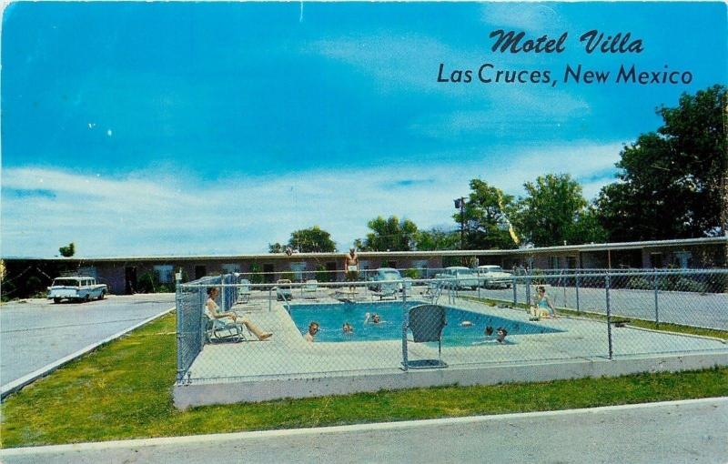 Las Cruces Nm Motel Villa South Main 1950s Cars Folks In Pool Diving