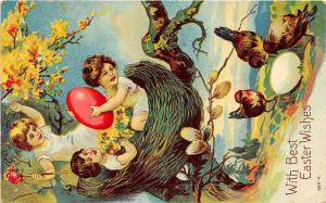 F30/ Easter Postcard Holiday Greetings Fantasy Nest Eggs c1910 Chickens 3