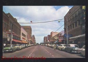 SHERMAN TEXAS DOWNTOWN TRAVIS STREET SCENE 1950's CARS VINTAGE POSTCARD STORES