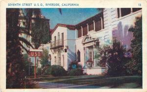 Riverside California~Seventh Street U S O~1920s Postcard