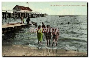 Postcard Old At The Bathing Beach in Provincetown, Mass Children