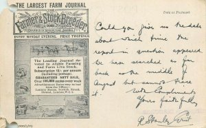 Largest Farm Agricultural Journal The Farmer and Stock-Breeder advertising card