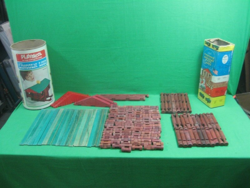 Vintage Two Different Sets of Lincoln Logs Original and Playskool 150+ Pieces