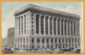 Chicago, Ill., New Court House, Trollys, cars and buggies out front - 1908